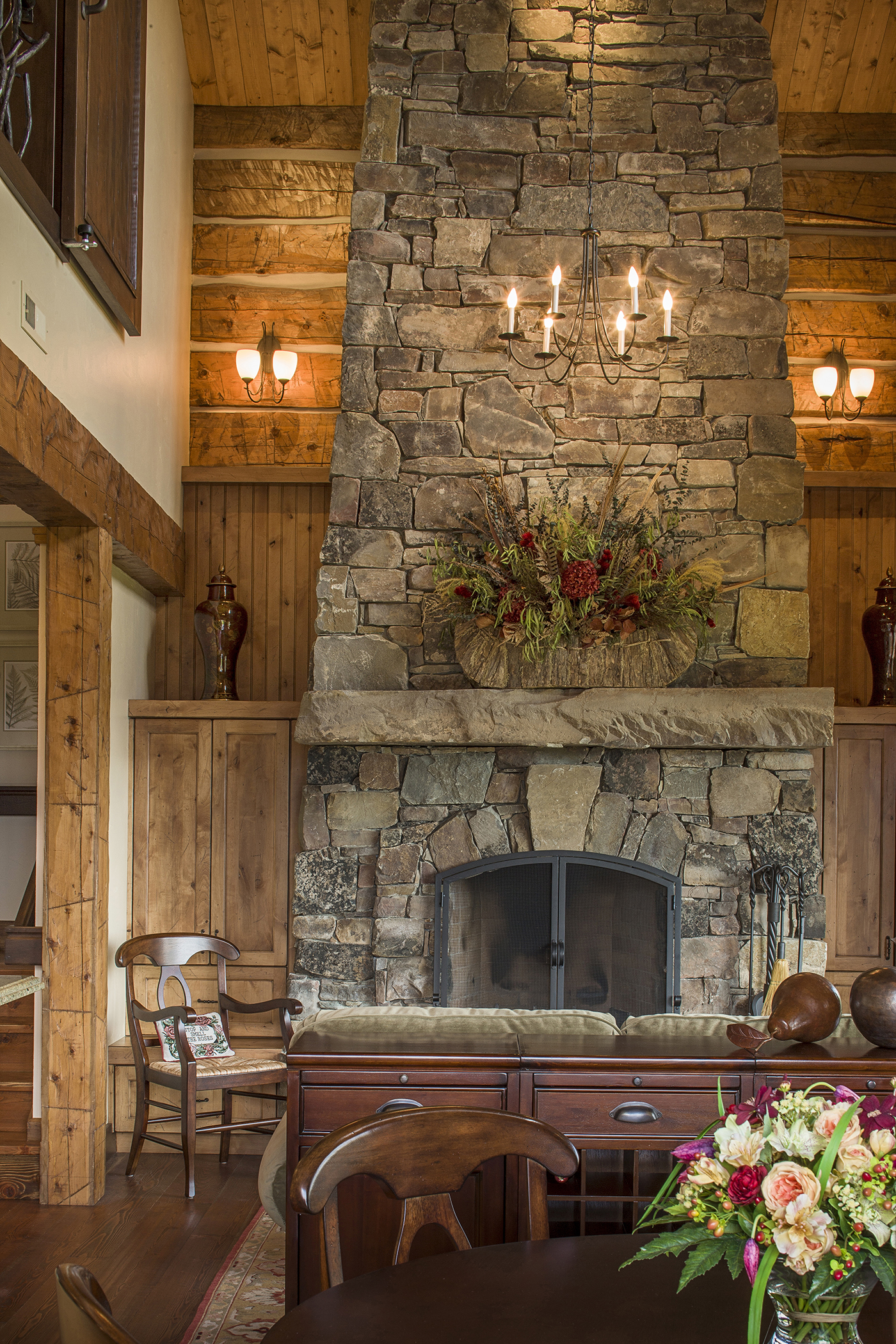 Mountain Timber Frame Guest House Fireplace Rocky