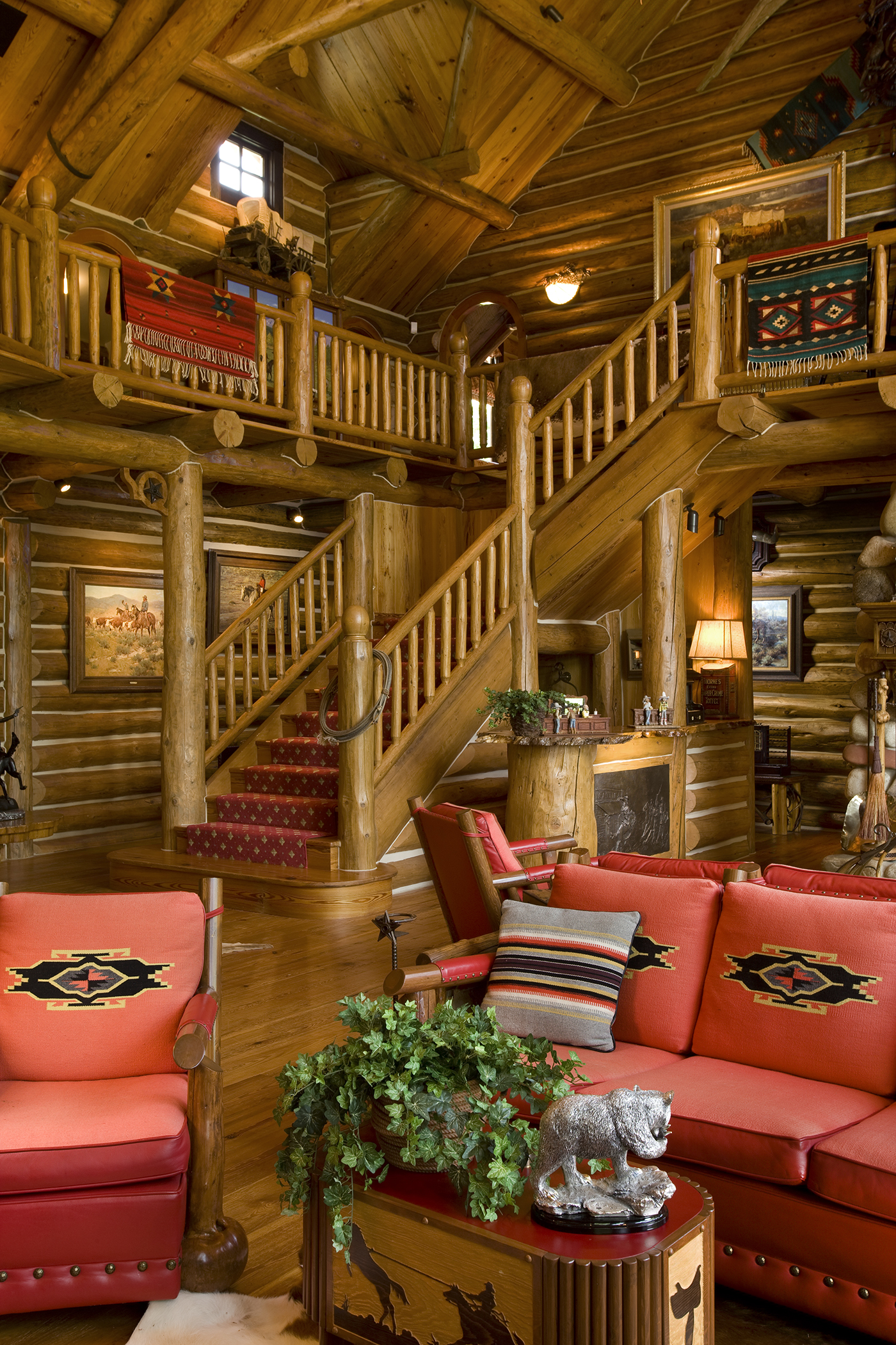Camp Style Lodge Stairs | Rocky Mountain Homes