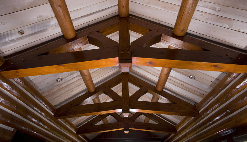 Decorative timber trusses rocky mountain homes for Timber trusses for sale