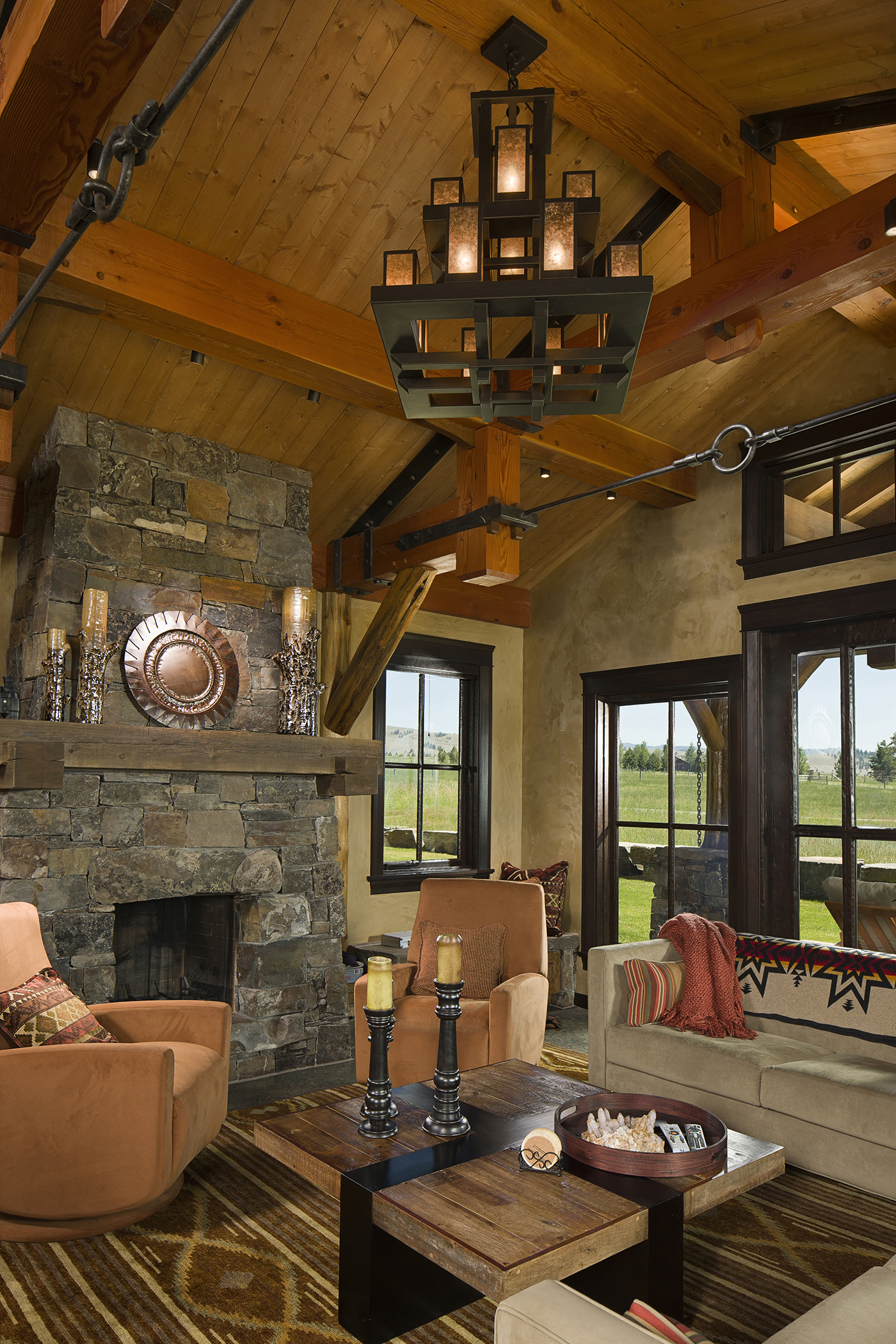 Mountain Timber Frame Great Room Rocky Mountain Homes