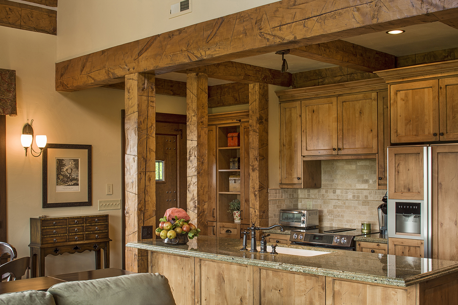 Mountain Timber Frame Guest House Open Kitchen | Rocky ...